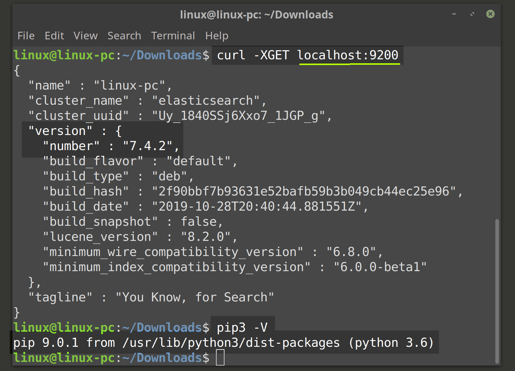 Screenshot of Python PIP3 and Elasticsearch versions in terminal