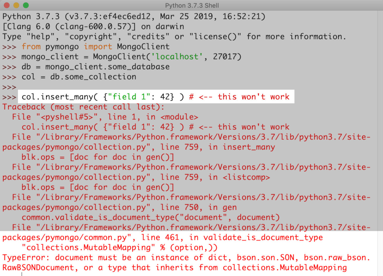 Screenshot of PyMongo raising a TypeError because a Python dict was passed to the insert_many() method