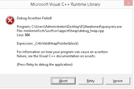 Debug Assertion Error - EQEmulator Forums