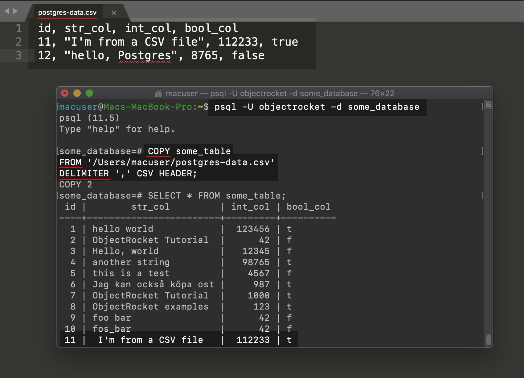 Screenshot of a psql PostgreSQL copy example to insert CSV data