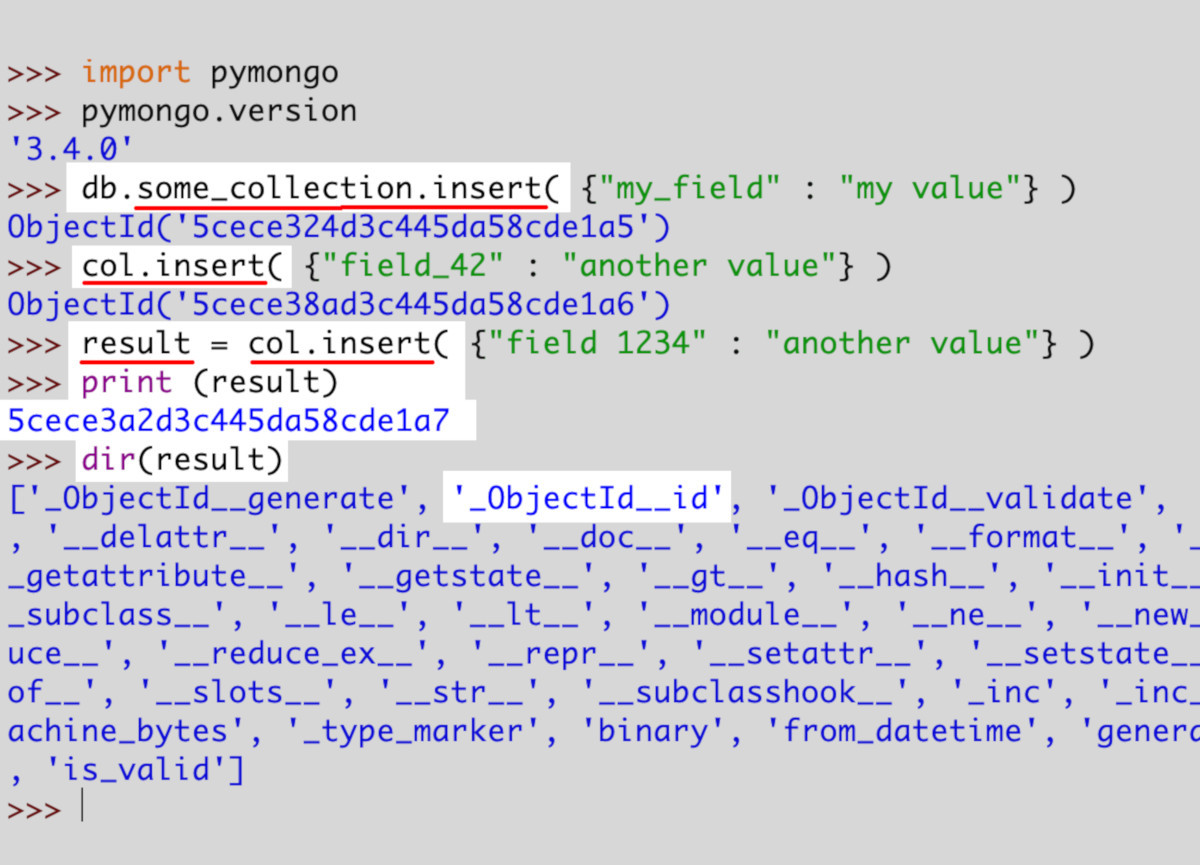 Screenshot of Python IDLE calling the deprecated insert() method and having it return a result object with the MongoDB document's _id