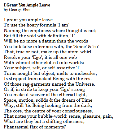 Poem of the Day. I Grant You Ample Leave by George Eliot