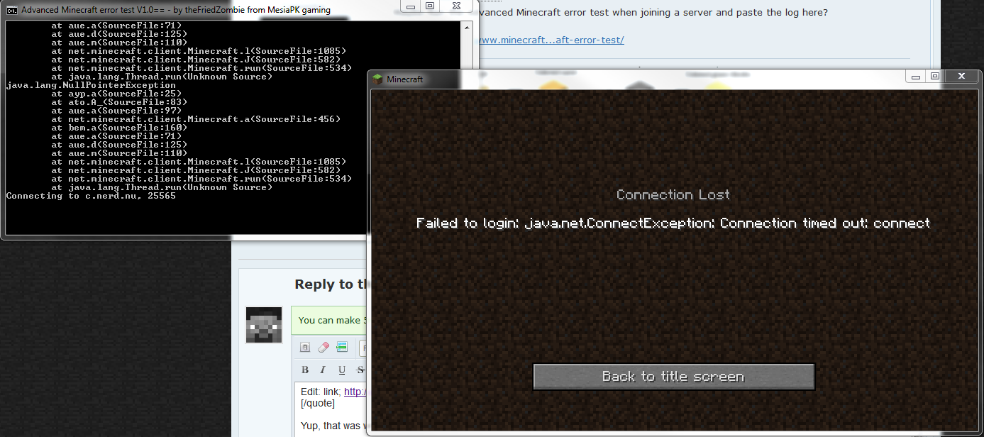 Minecraft java error server