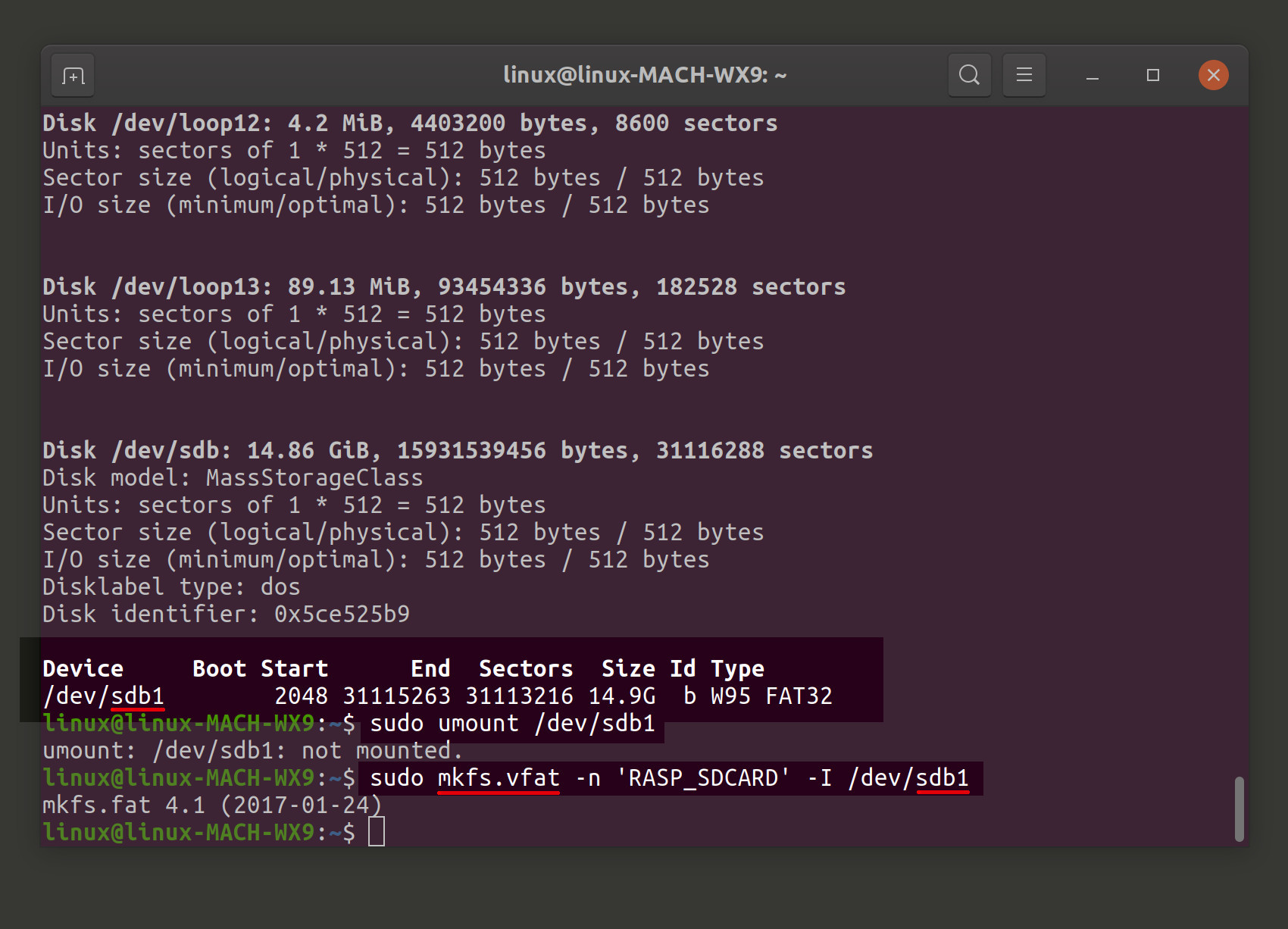 Screenshot of MongoDB Raspberry Pi formatting SD card in Linux terminal