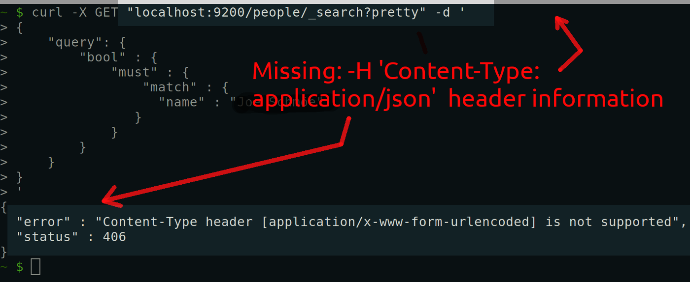 Getting a 406 Content-Type Error response after making a cURL HTTP request to Elasticsearch