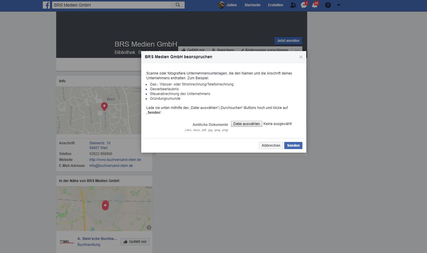 Facebook Seiten durch Dokumente hochladen zusammenführen