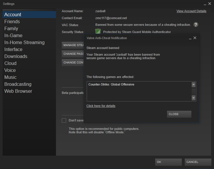 Steam account banned for vpn