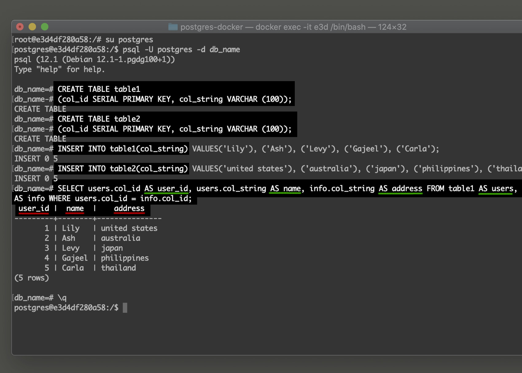 Screenshot of PostgreSQL SELECT AS clause example in the psql command line interface