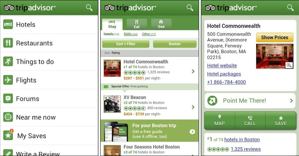 TripAdvisor, one of the many travel booking apps out there.