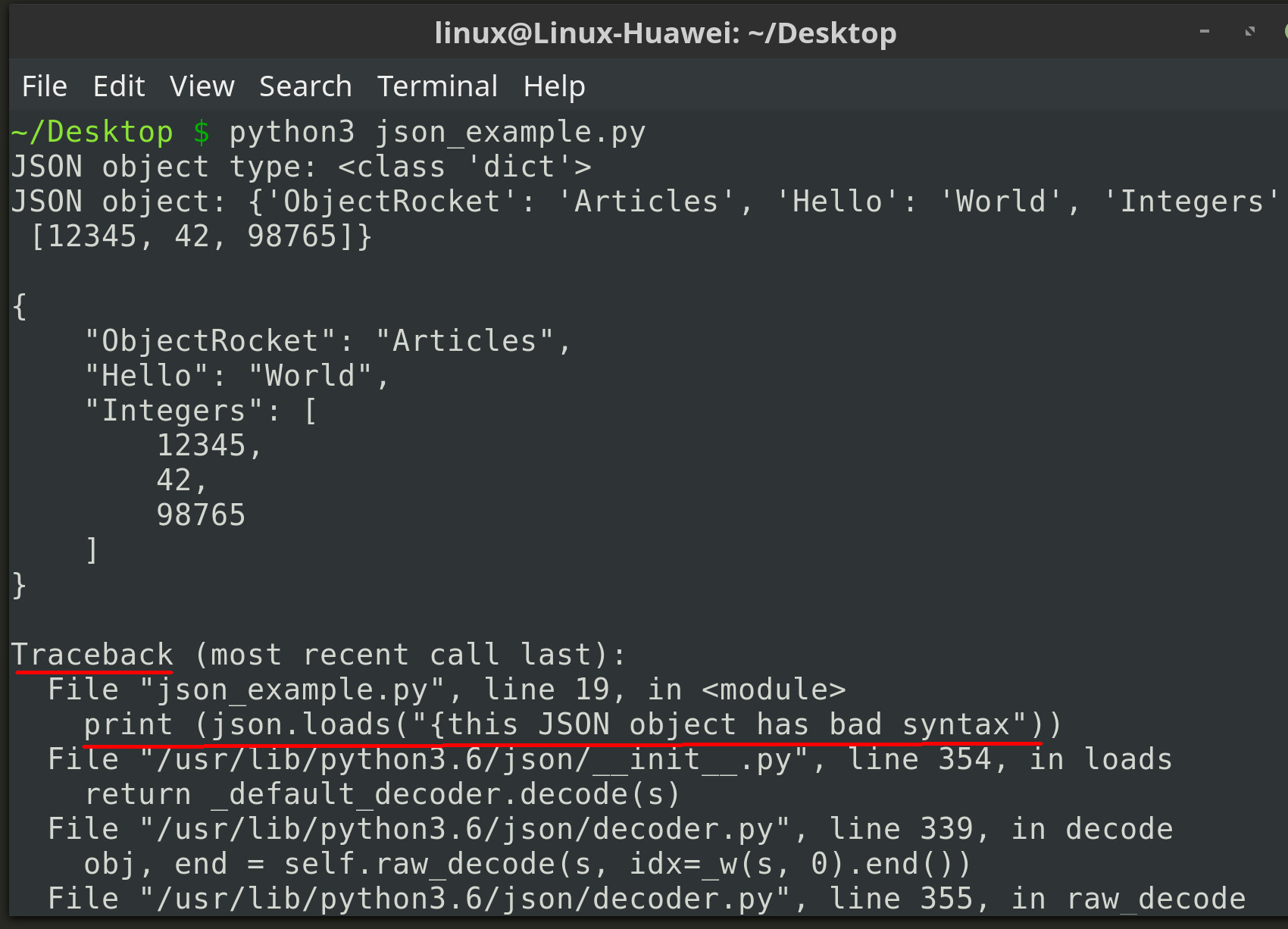 Screenshot of Python code using the json library's dumps() and loads() method calls