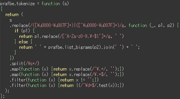 醜く表示されたJavaScriptコード
