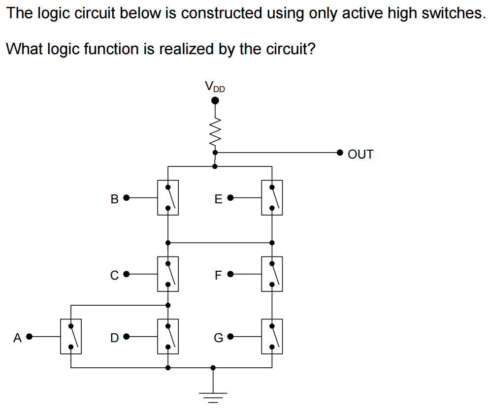 Construct A Logic Circuit Diagram Solved The Below Is Constructed Using Only Question Active High Switches What Function Re