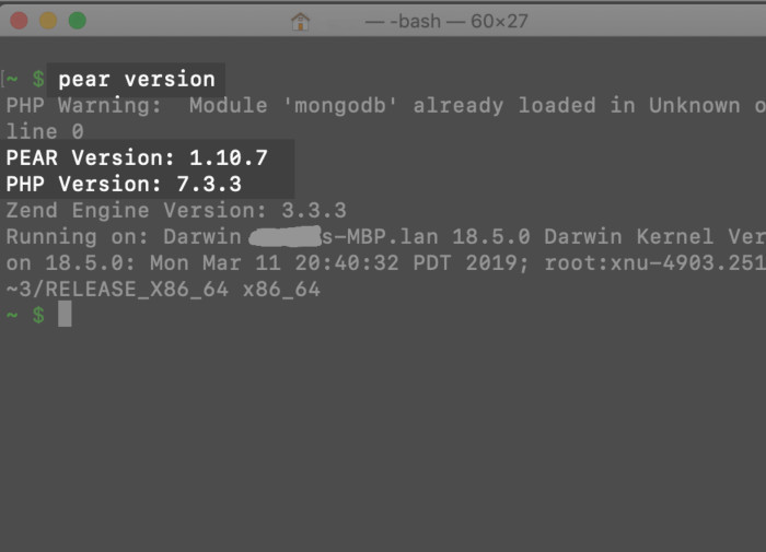 Screenshot of a macOS terminal checking the version of PHP PEAR installed
