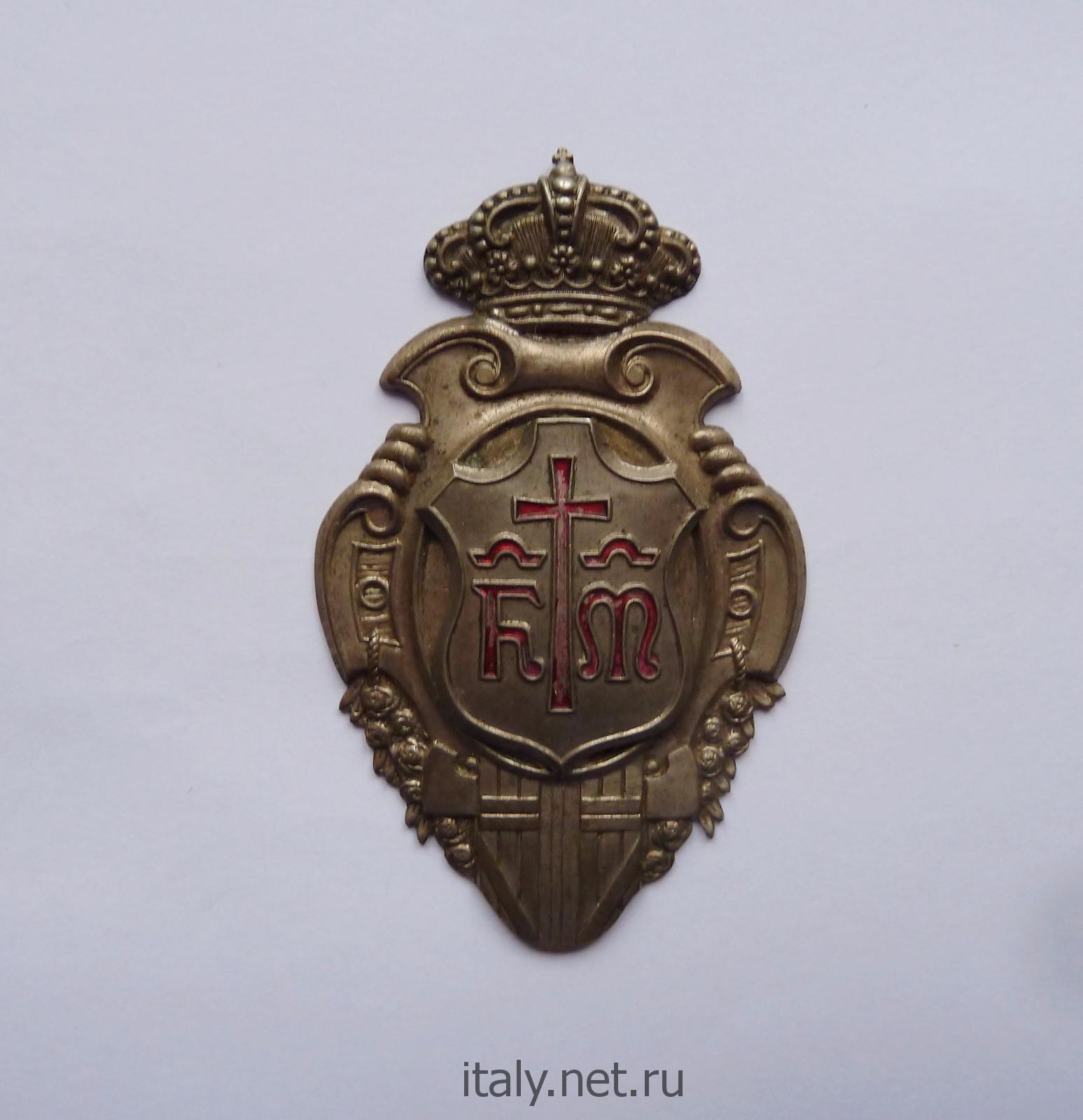 Значок члена флорентийского ордена Красного креста Мисерикордиа. Флоренция. Фашистская Италия. 1930-е годы.