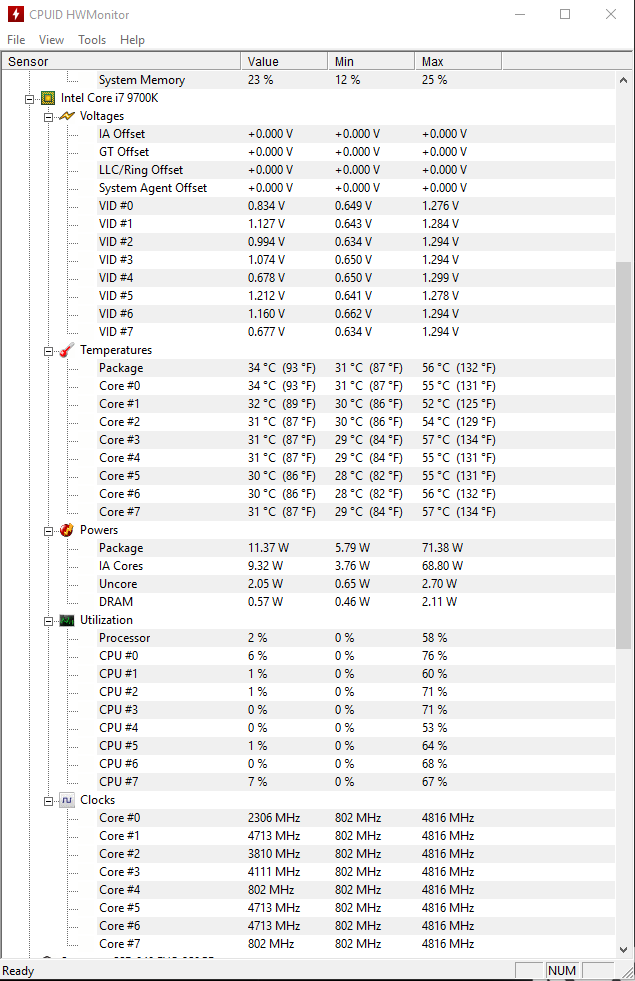 i7-9700K experiencing erratic and fluctuating temps with Corsair