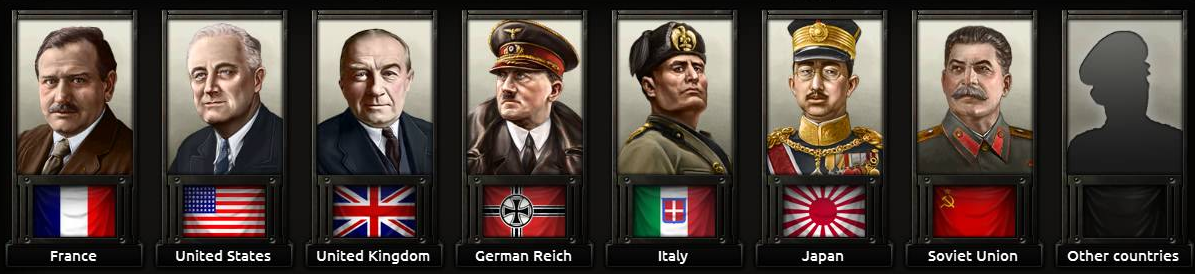 Países recomendados e seus respectivos líderes. Da esquerda pra direita: France, EUA, Reino Unido, Alemanha, Itália, Japão e União Soviética.