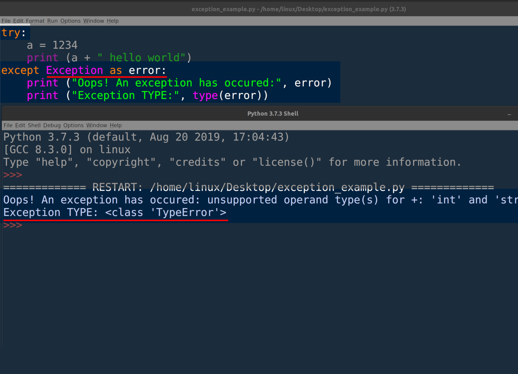 Screenshot of Python IDLE returning exception information in a try-except indentation block