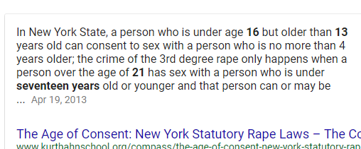 what is the legal age of dating in ny