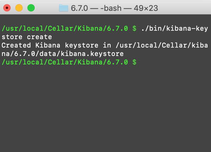 Creating a kibana-keystore in a macOS UNIX terminal