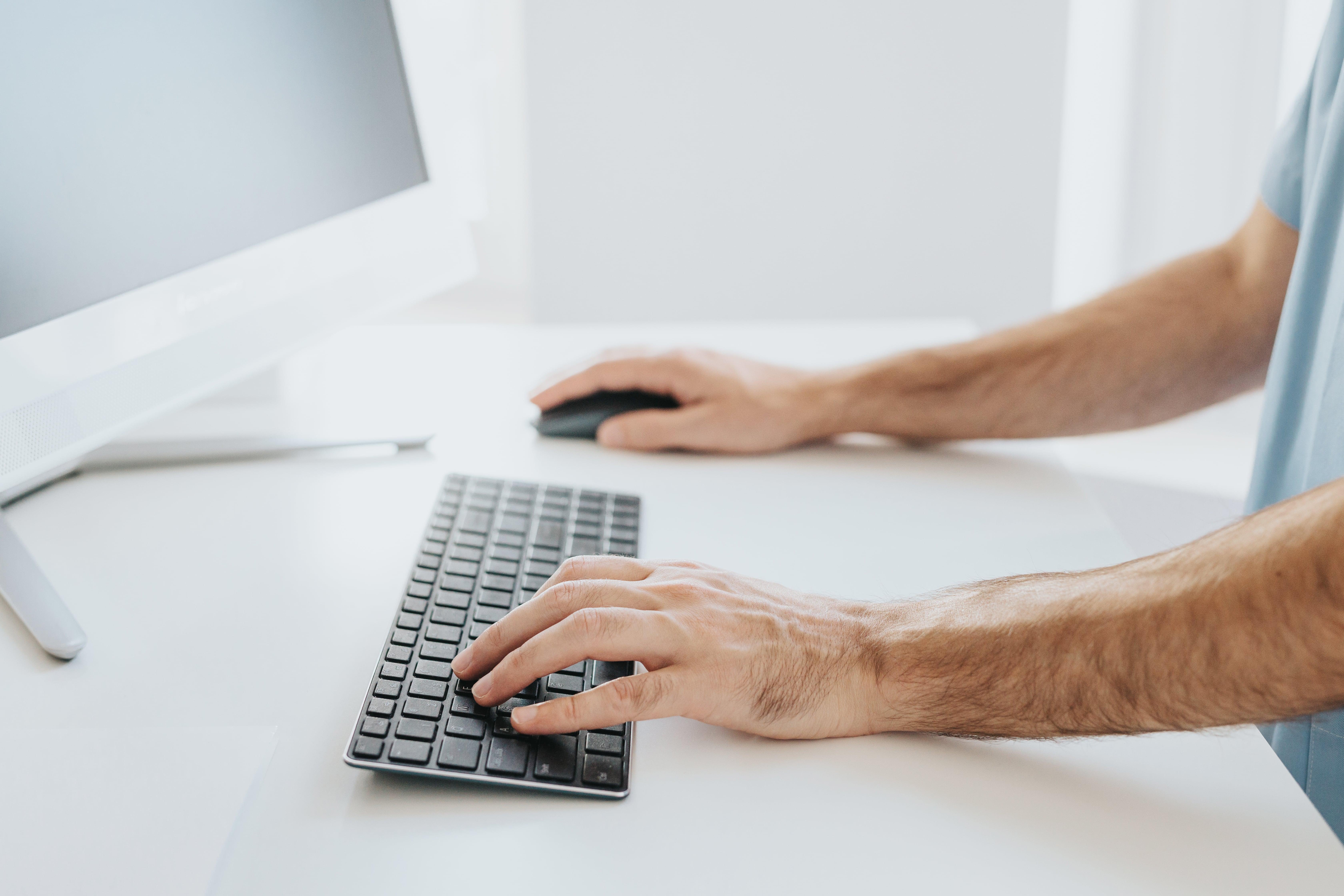 writing man keyboard