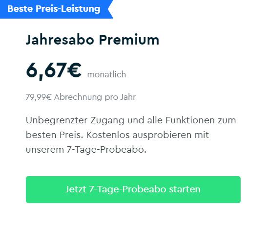 Jahresabo Premium - 12.99 Euro pro Monat