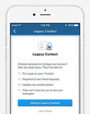facebookに相続人譲渡サービスLegacy Contact 2