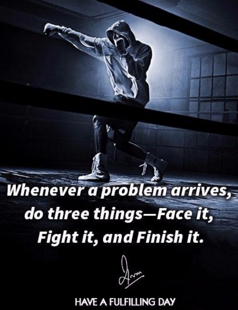 Whenever a problem arrives, do three things- Face it, Fight it, and Finish it.