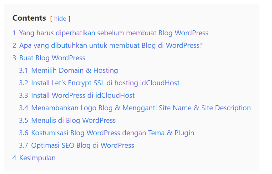 table of content Plugin Blog WordPress