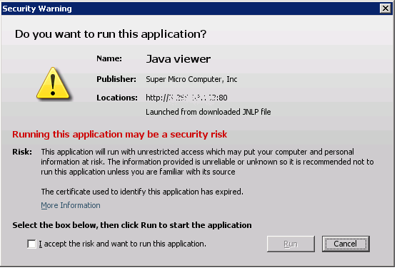 Java Application Blocked