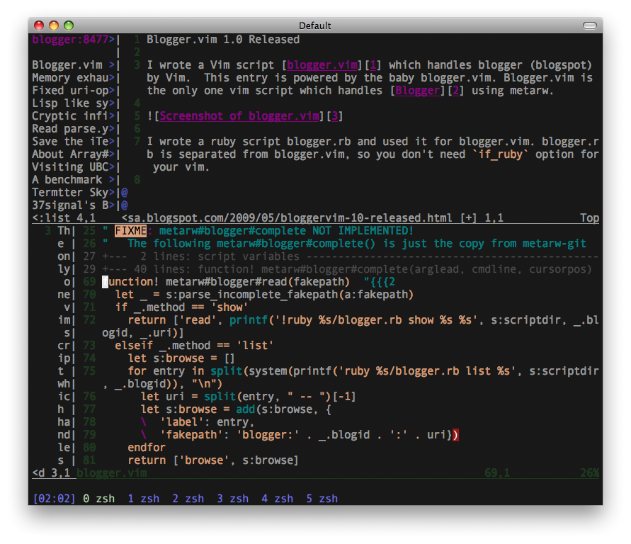 Screenshot of blogger.vim