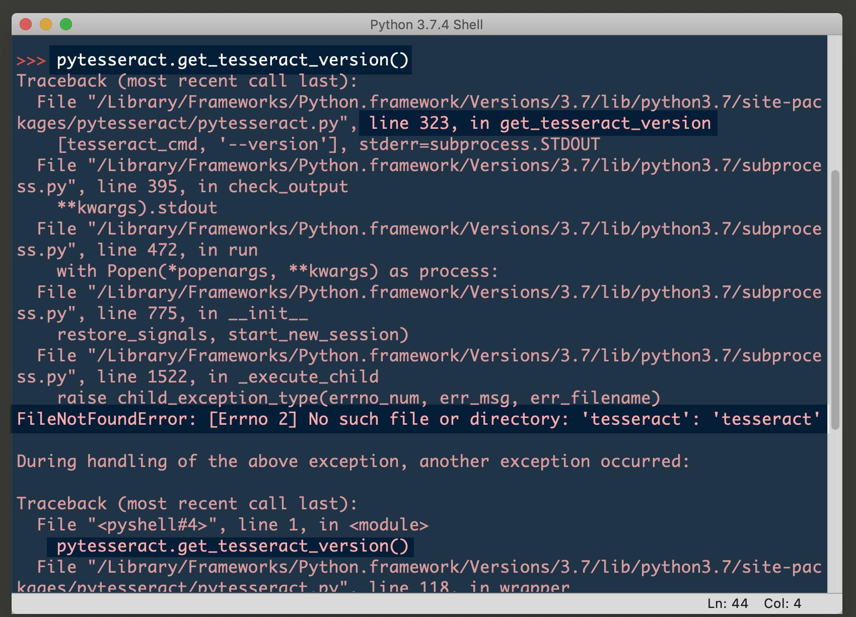 Screenshot of Python3 IDLE returning TesseractNotFoundError FileNotFoundError for PyTesseract