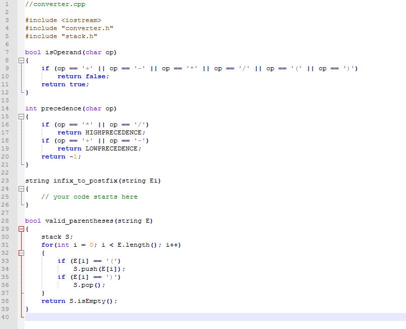 infix to postfix using stack c++ code
