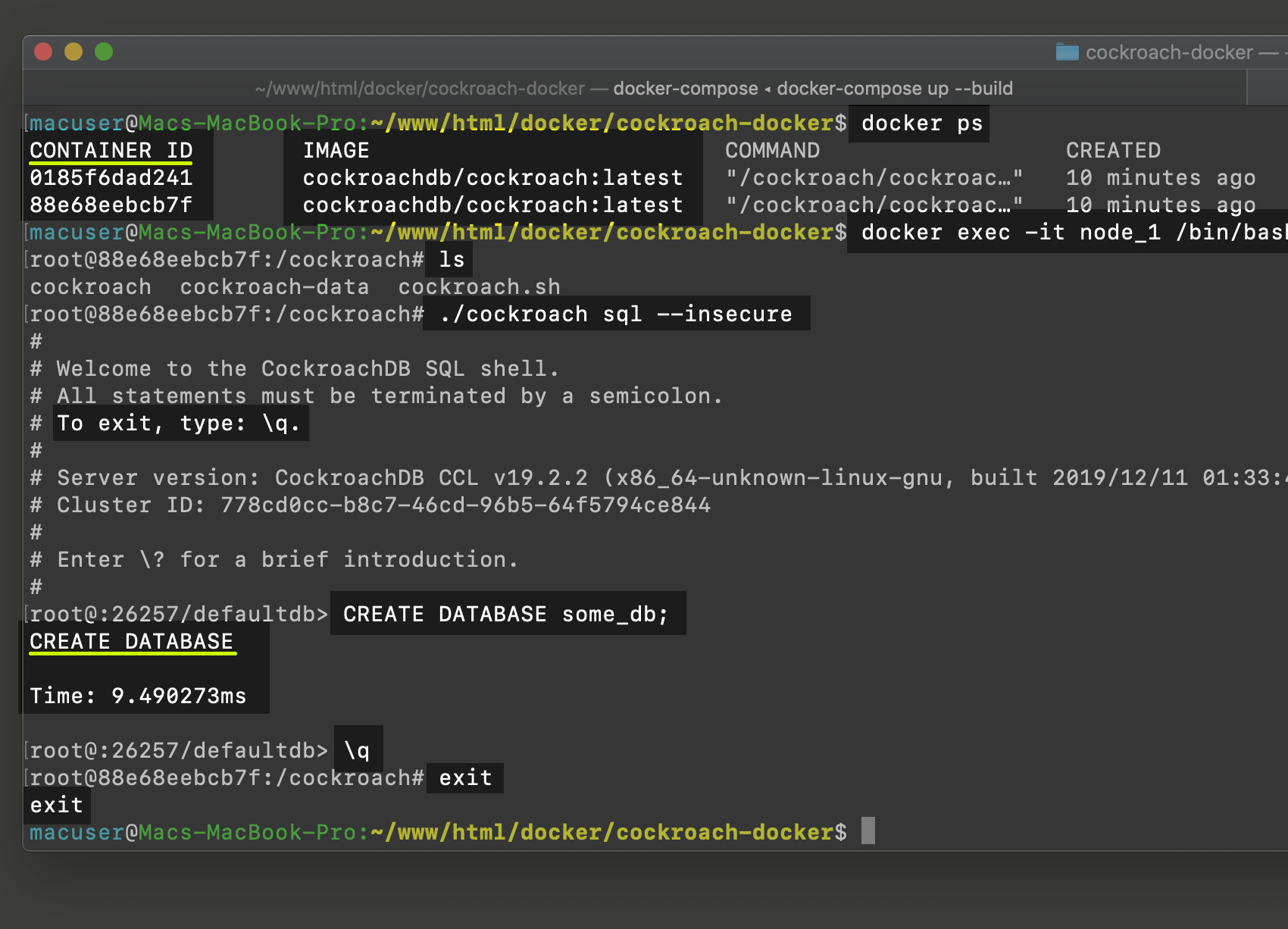 Screenshot of Docker containers for CockroachDB cluster nodes creating database