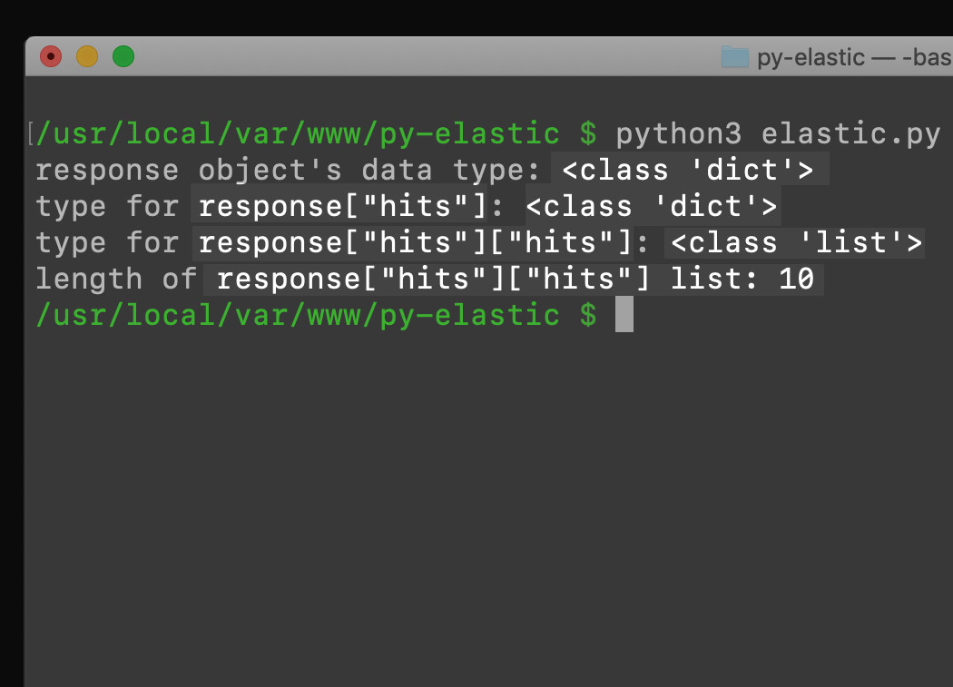 Screenshot of terminal getting the data types of an Elasticsearch query response in Python