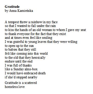 Poem of the Day. Gratitude  by AnnaKamieńska