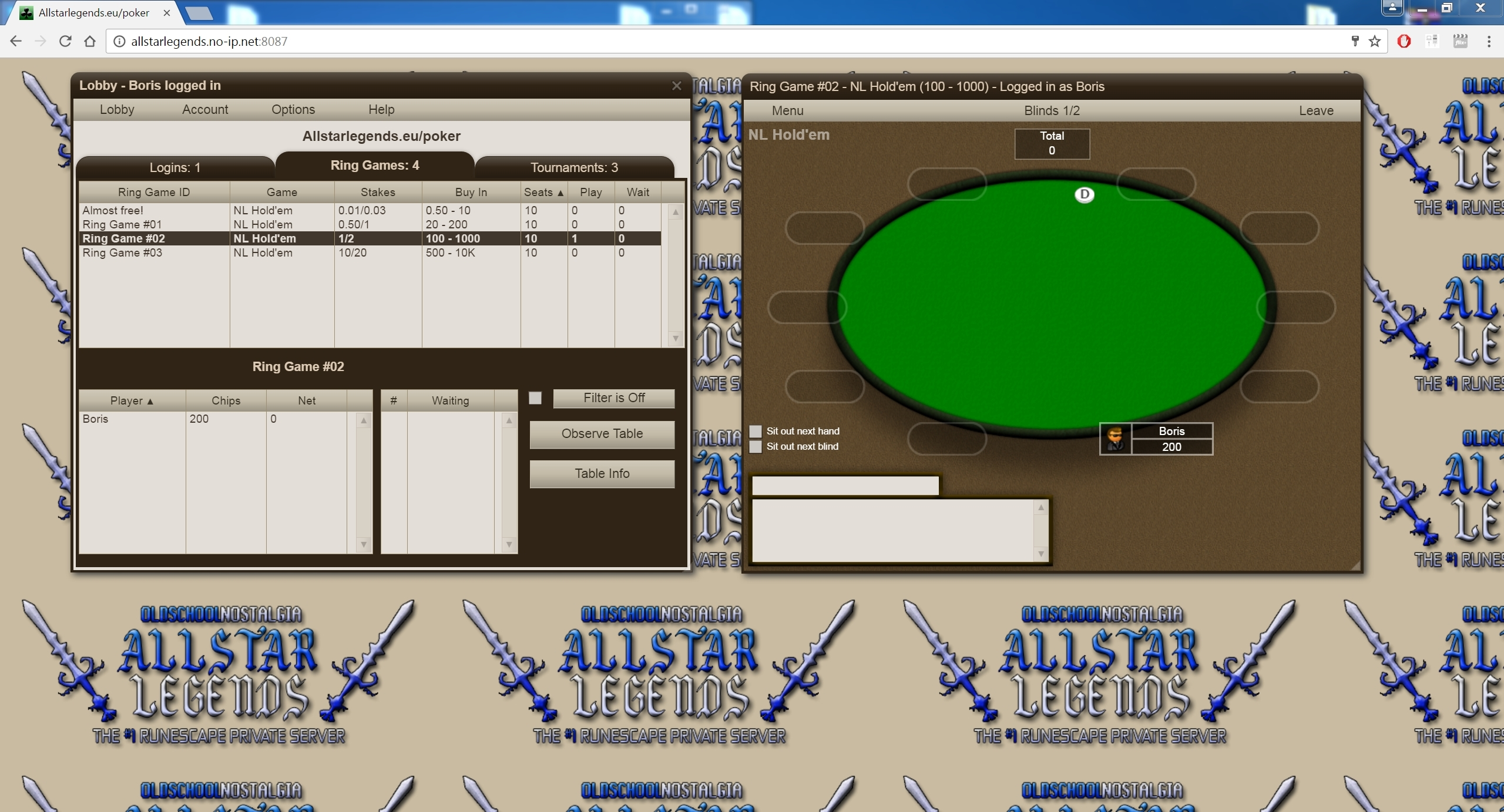 Automatic Poker system for ingame money.