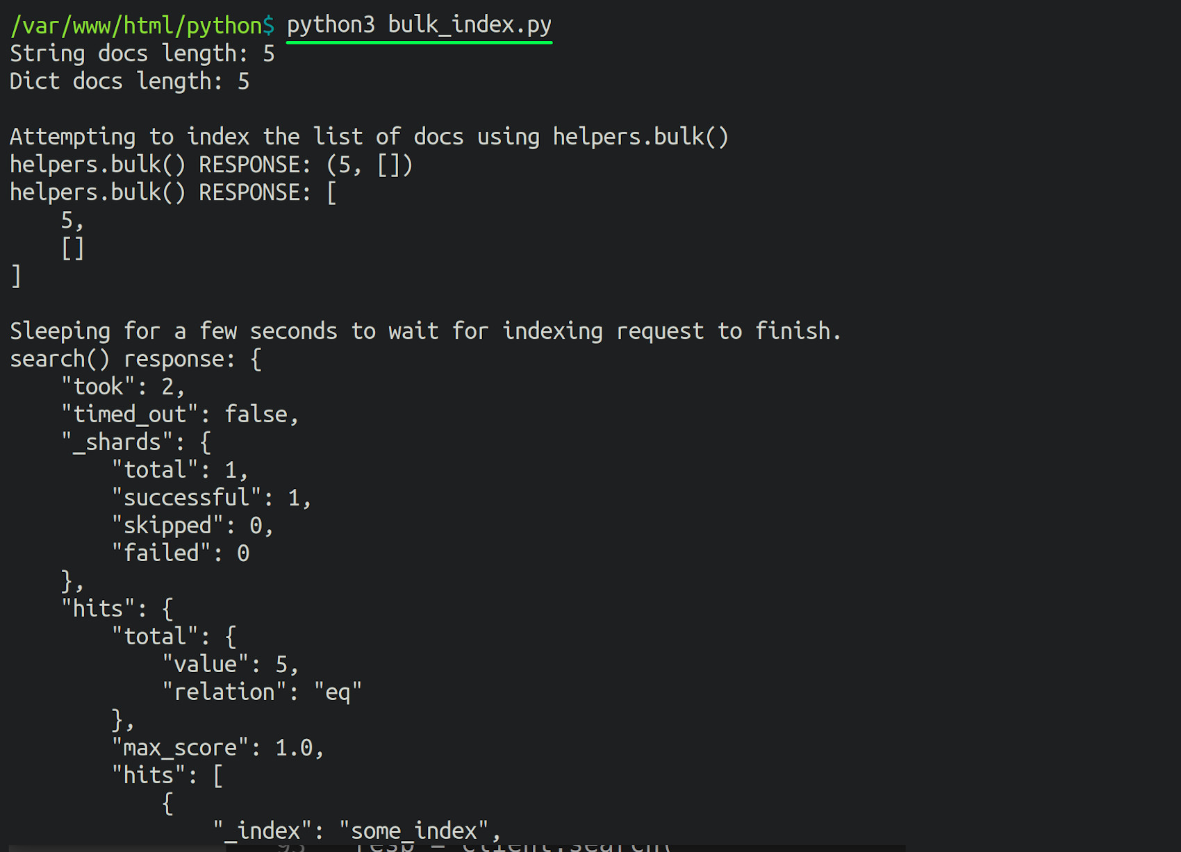 Terminal screenshot of Python using the helpers.bulk() method to index JSON documents into Elasticsearch