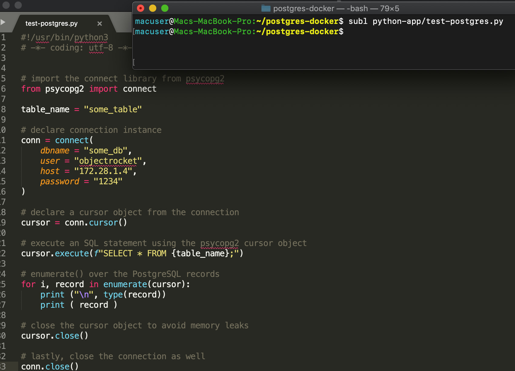 Screenshot of Sublime editing the psycopg2 Python script for PostgreSQL