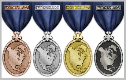 Risk medals North America map