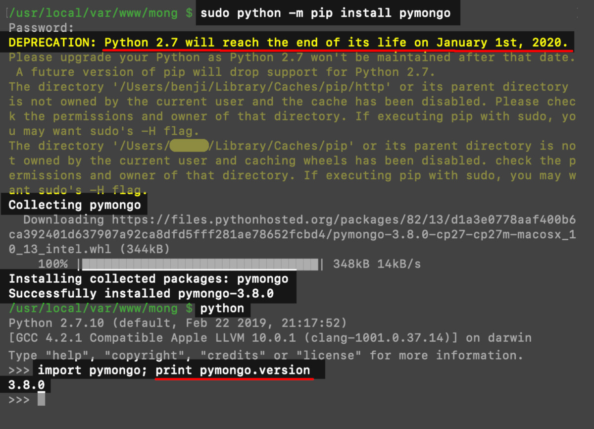 Terminal output after installing PyMongo for Python 2.7