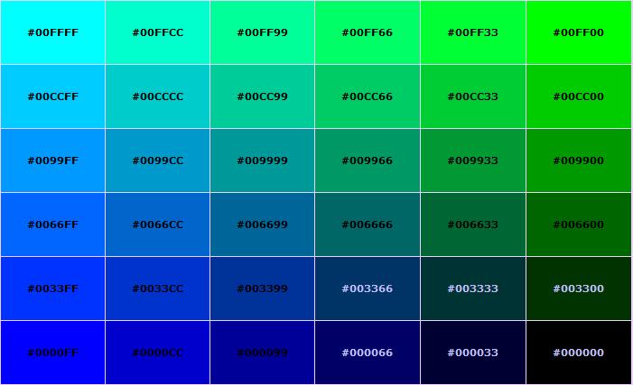 recipe: html color codes list [19]
