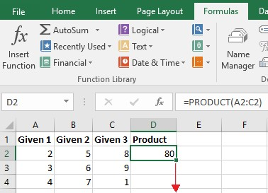Screenshot of an Excel sample performing PRODUCT function for multiplying columns