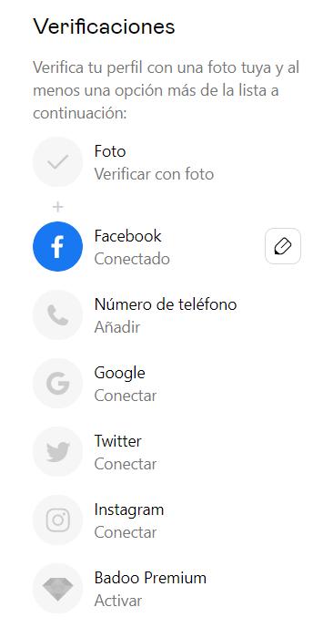 verificar cuenta de Badoo por Facebook