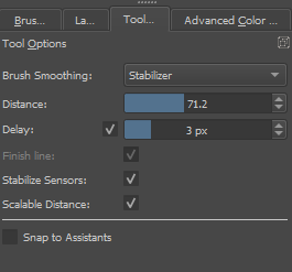 The docker 'tool options' controls your stabilizer.