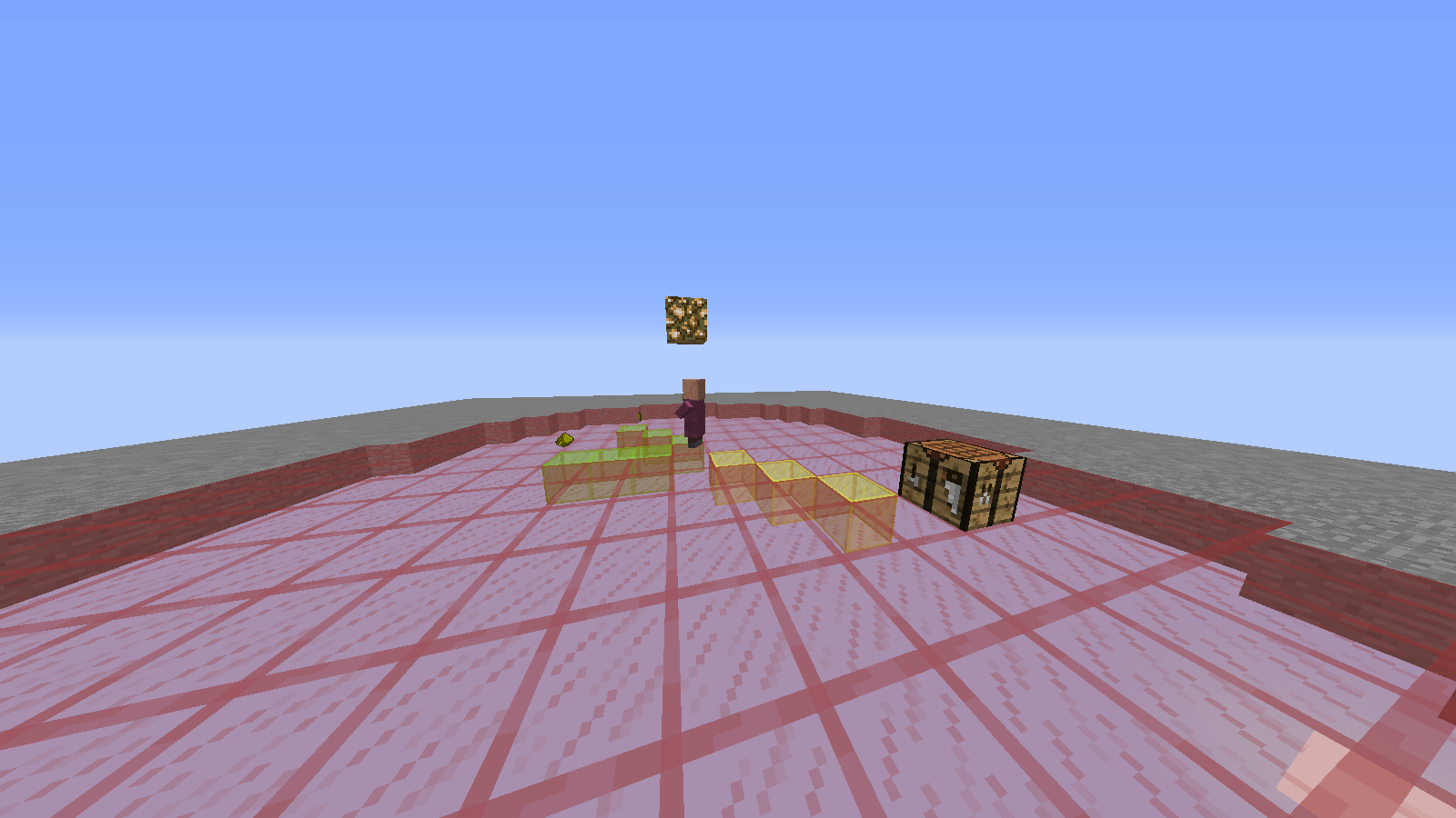Villager radius detecting the crafting table and 4 glowstone dust