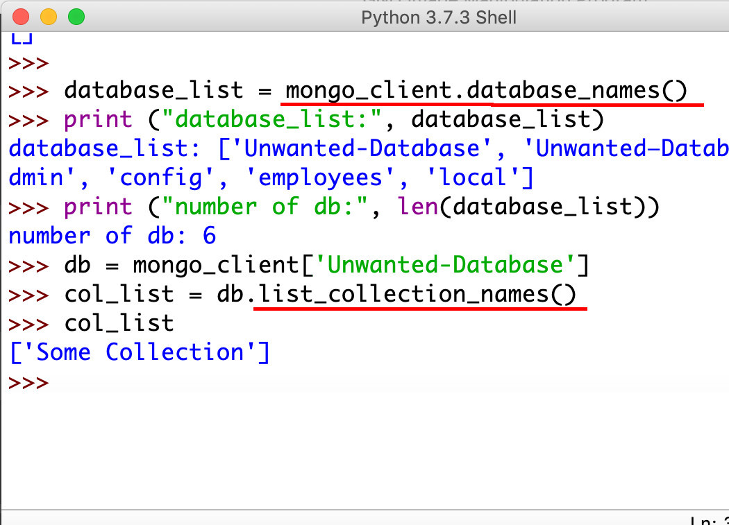 Screenshot of Python IDLE get database_names() and collection_names() for MongoDB with PyMongo driver