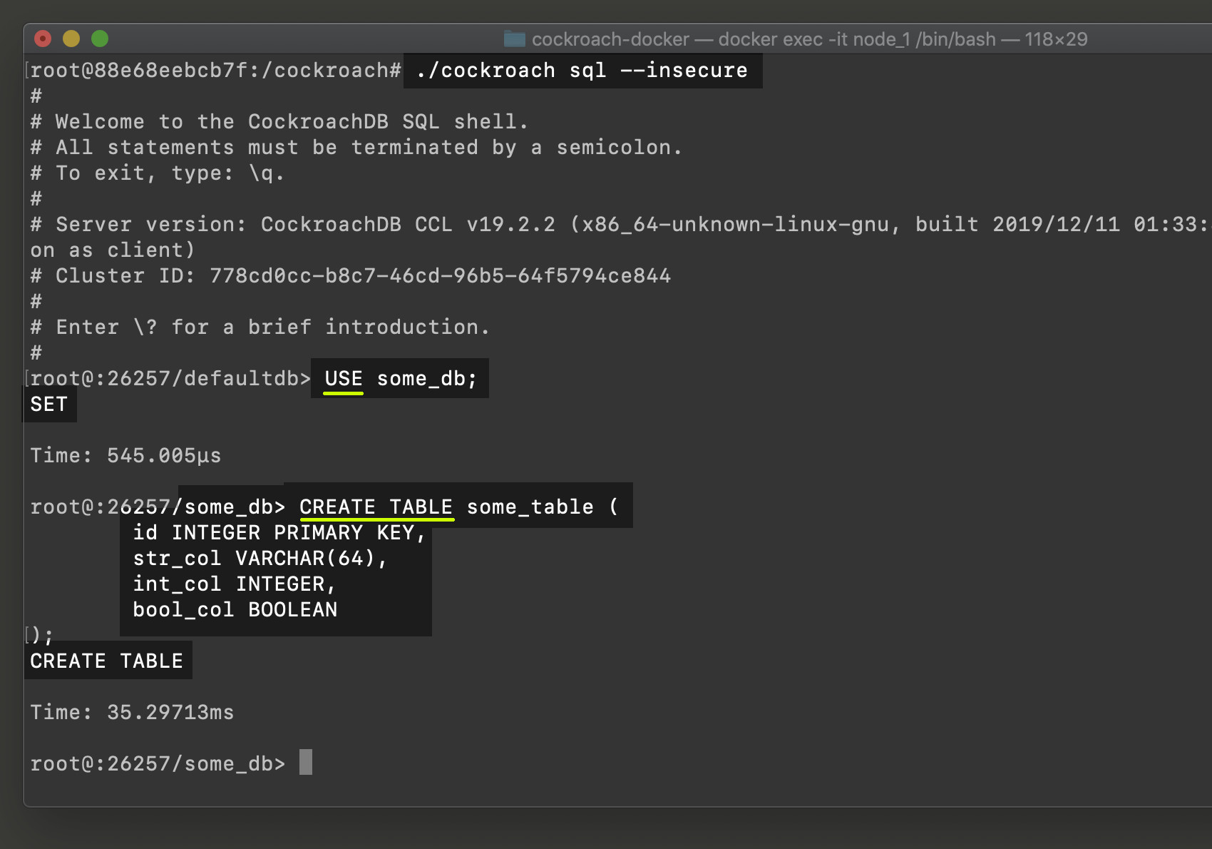 Screenshot of using CREATE TABLE CockroachDB SQL statement