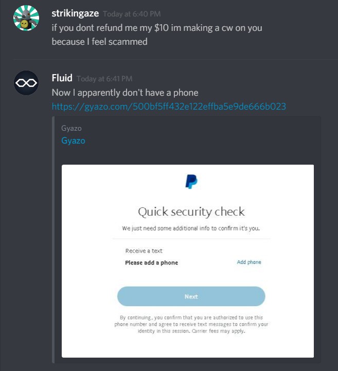 CW] Fluid   Obvious attempt to scam me   dont buy his shitty