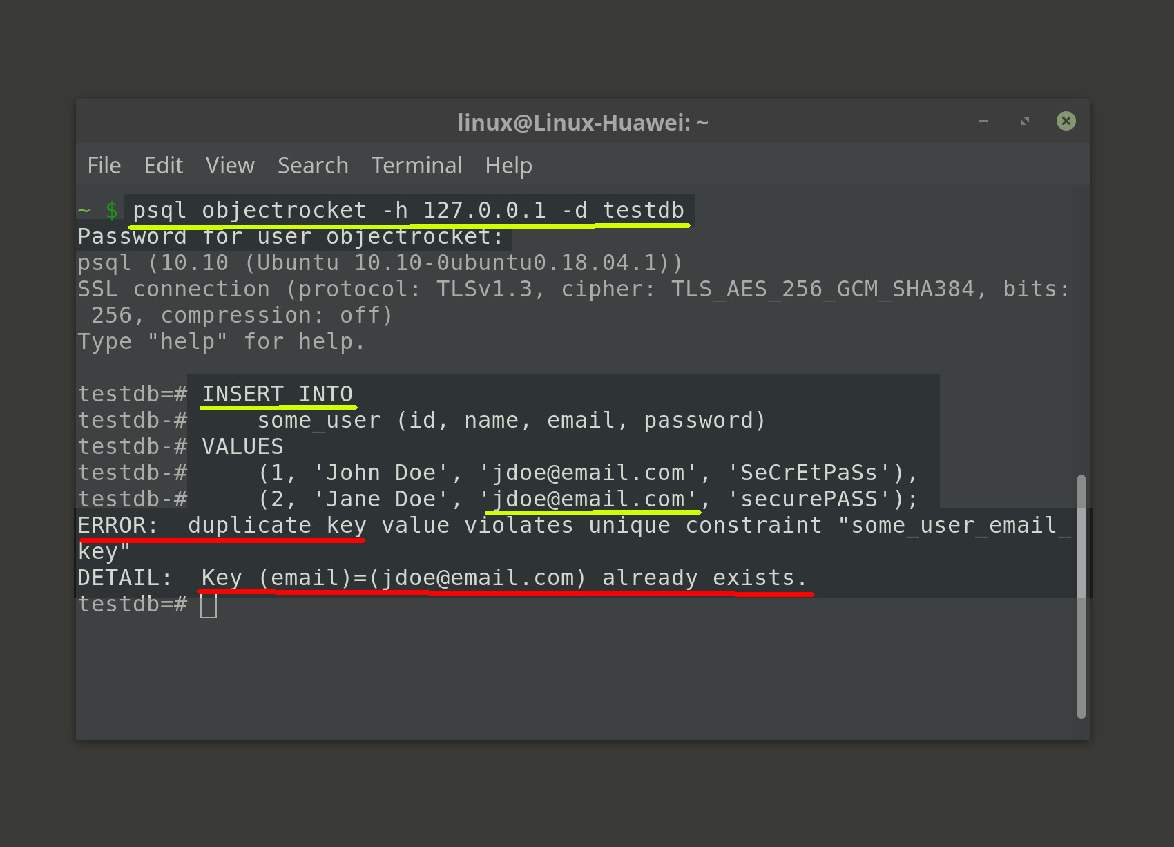 Screenshot of psql Postgres duplicate key value violates unique constraint error