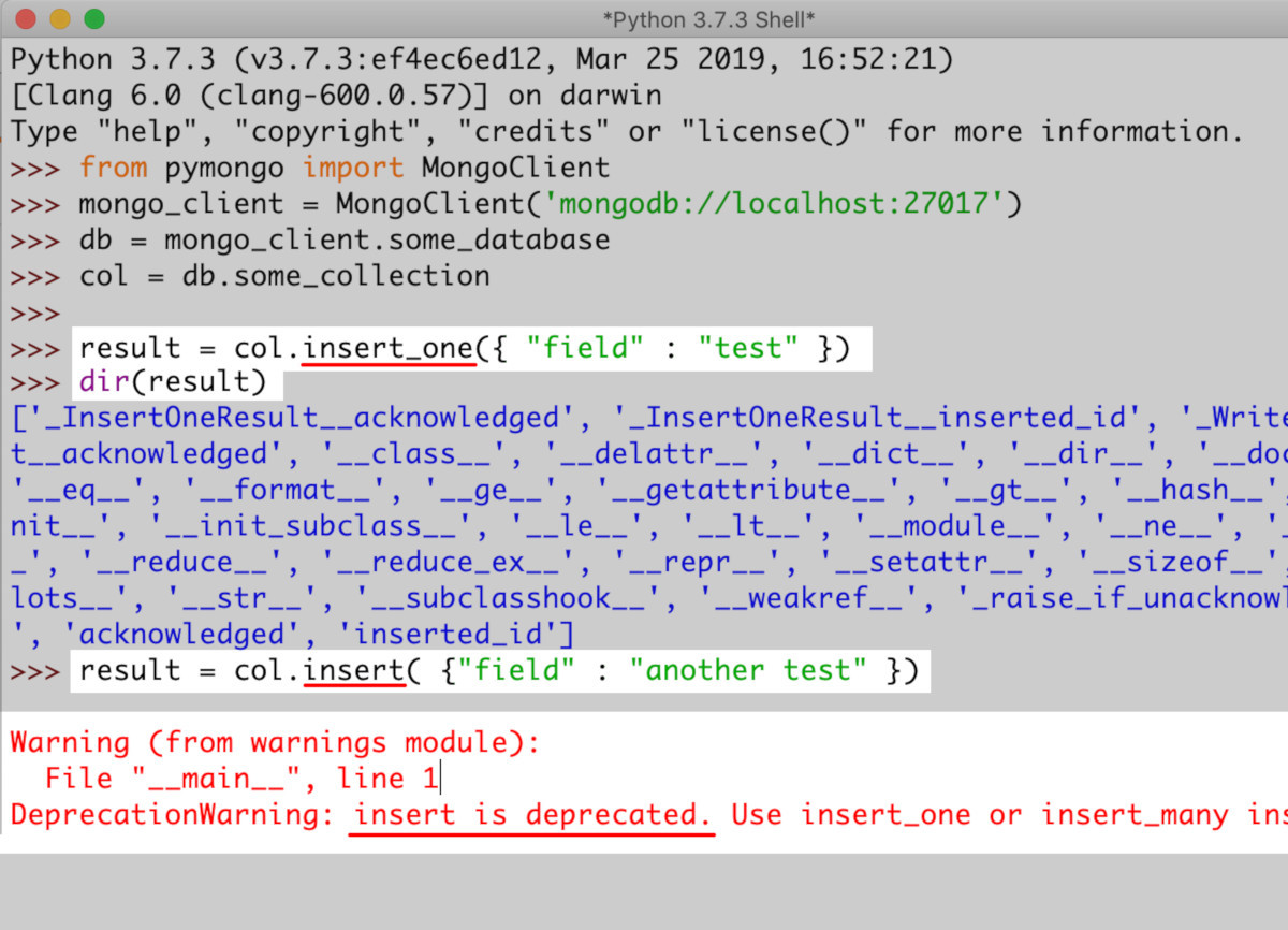 Screenshot of Python's IDLE inserting a document into a MongoDB collection